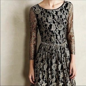 Anthro Maeve lacefall black floral lace dress